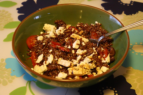 red quinoa, feta, tomatoes, kalamata olives, roasted red peppers