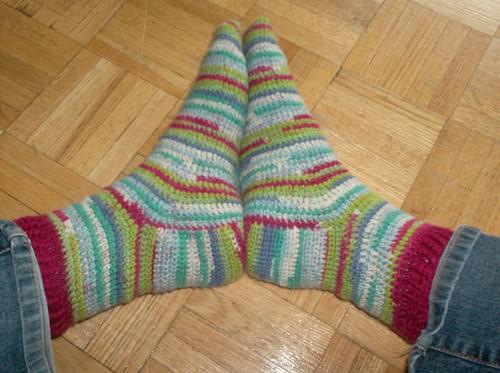 Crocheted Carnival Socks - Complete