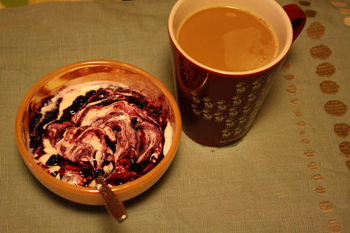 Chobani, blueberry preserves, coffee