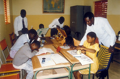 Blind children and teachers at work!.