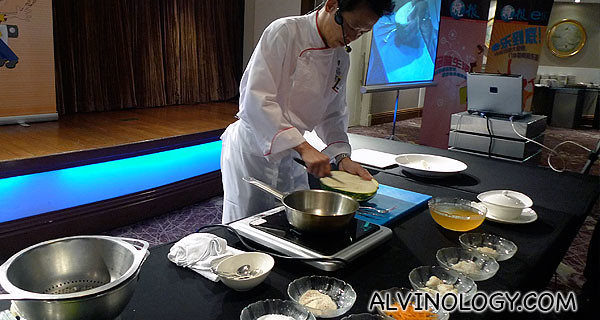 Cooking demonstration by the head chef
