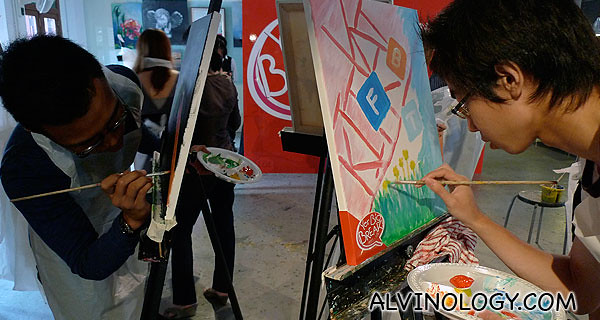 Nabil and Hong Peng working on their pieces