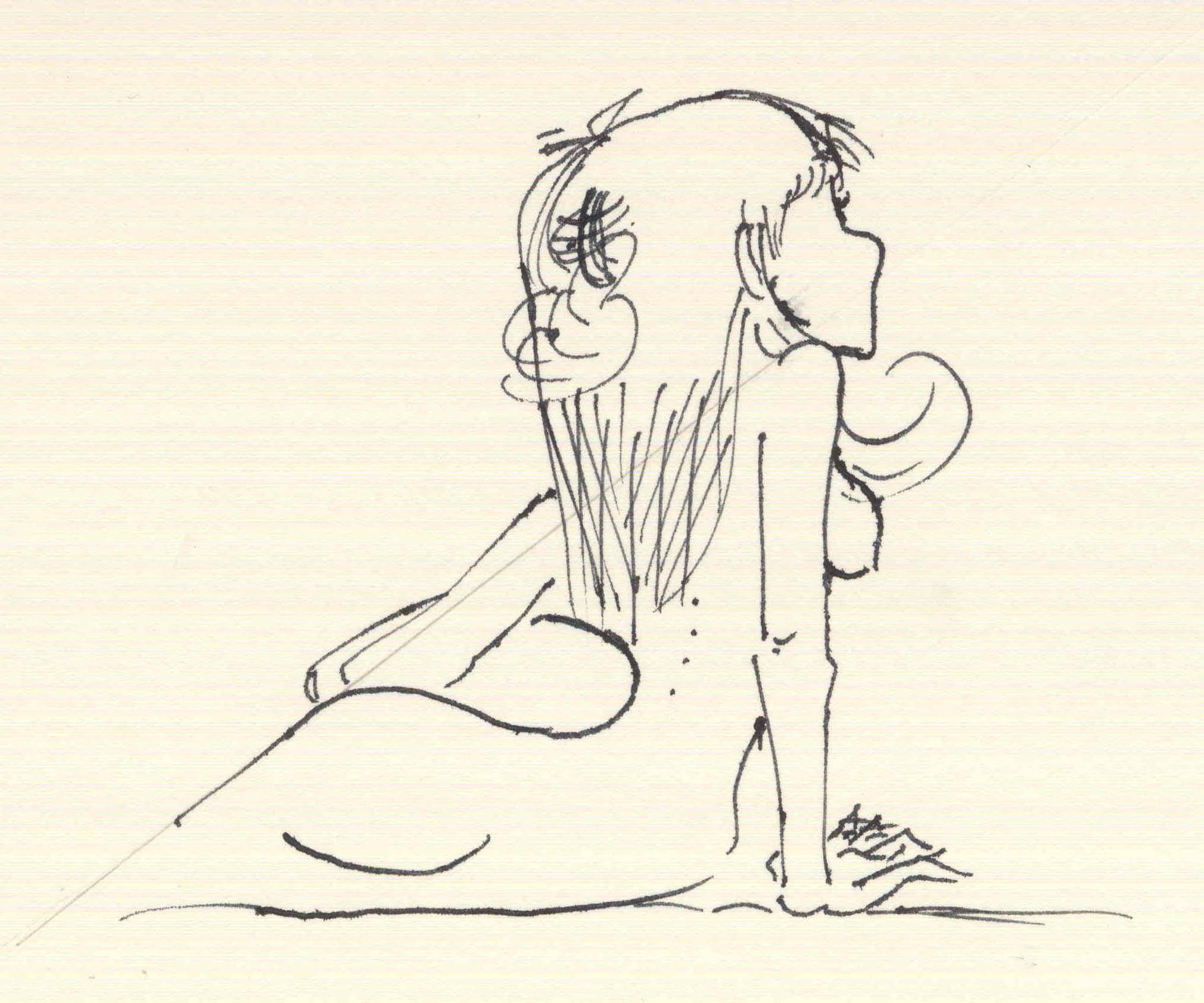 Christina Dichterliebchen lümmelt auf dem Sofa. Mit Tinte und Füllfeder auf Flickr
