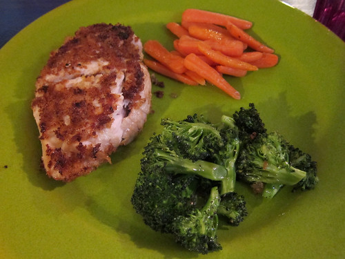 Lemon Panko Chicken, Carrots & Brocolli