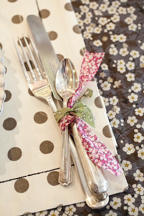 Flatware tied with Liberty fabric scraps