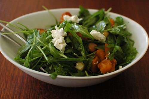 Roasted pumpkin with rocket, macadamia nuts & goats cheese