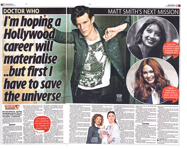 Daily Mirror Saturday 4th June 2011 Doctor Who - Matt Smiths Next Mission