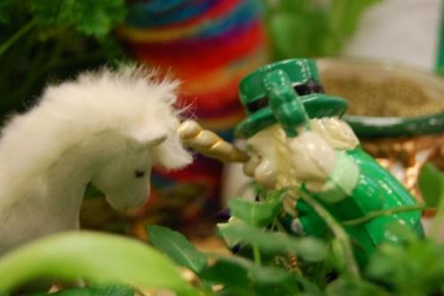 Unicorn horning a leprechaun