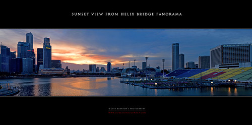 Sunset View from Helix Bridge Panorama by kuantoh