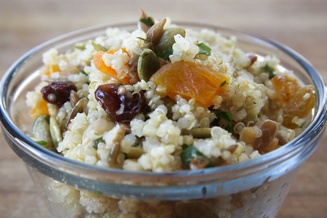 quinoa, fruit, and nut salad
