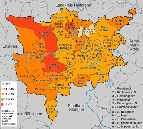 Karte_Landkreis_Ludwigsburg wahlergebnisse piraten