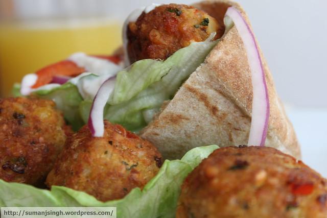 Falafel and Pita Sandwich