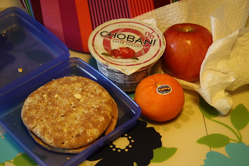 pb & j on Arnold's Thin, Chobani pomegranate, apple, clementine