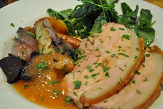 Mains: Wood roasted pork with wood roasted vegetables and quince aioli