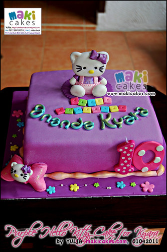 Purple Hello Kitty Cake for Ananda Kyara - Maki Cakes
