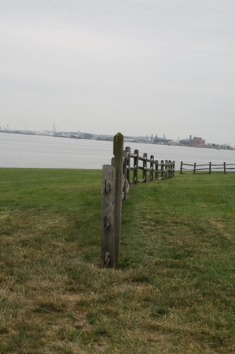 View of the harbor-wooden fence