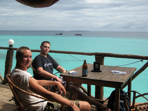 Myself and a few friends having lunch at Nungwi