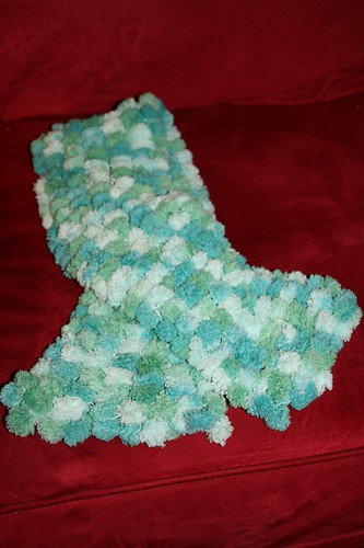 My first knitted pom-pom scarf