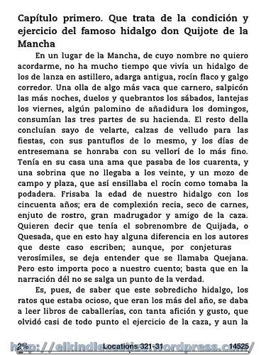 El Quijote - Ejemplo con tamaño de letra 1
