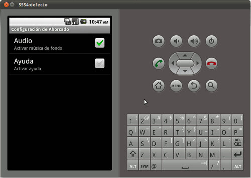 tutorial castellano android. menu configuracion