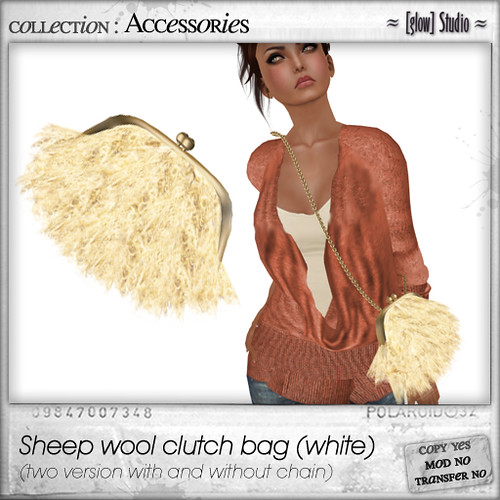 [ glow ] studio - sheep wool clutch (white)