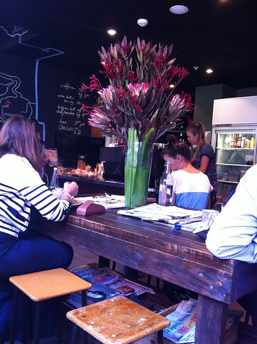 communal table, little queen cafe, chippendale