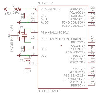 bare bone Arduino Eagle scematic diagram