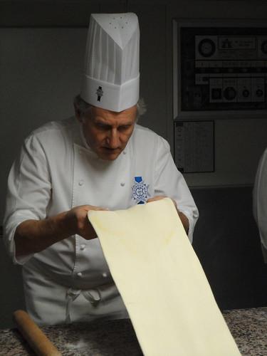 rolling croissant dough