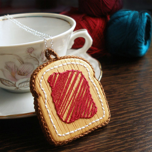 Wooden Embroidered Raspberry Toast