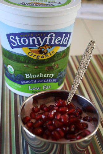 Stonyfield Blueberry yogurt and pom arils