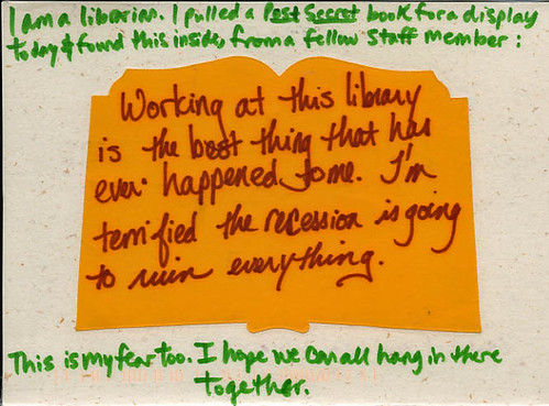 PostSecret Library Recession Fear