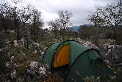 Camping In A Rocky Field