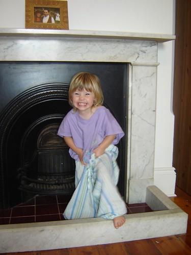 Freya tries on Mum's pajamas
