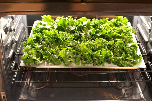 Popping the kale in the oven