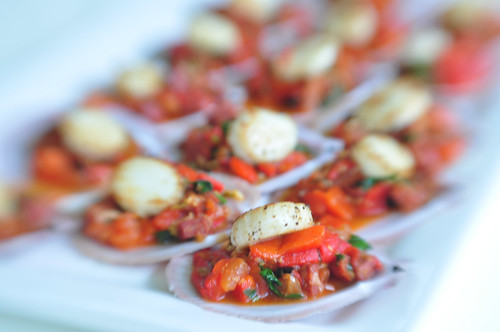Seared Scallops with Choritzo and Capsicum