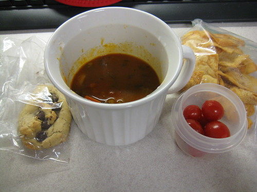 cookie, minestrone soup, grape tomatoes, pita chips