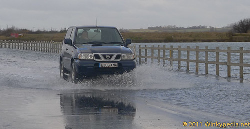 Flooded road to Mersea
