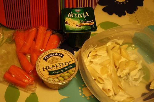 carrots, Musselman's healhty granny smith applesauce, activia vanilla bean, fettucine alfredo