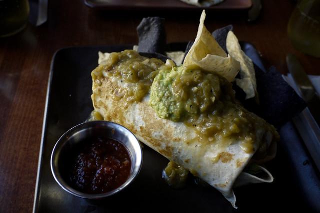 "the vegetarian burrito, ""so-so"" : organic pinto, refried or black beans  organic rice, lettuce, pico de gallo & red or green chile"