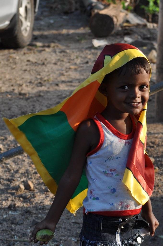 Child with Sri Lankan Flag on Independence Day February 4th 2010 Ginigathhena Sri Lanka