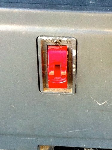 Bandsaw power switch is missing the safety key that allows you to turn it on.