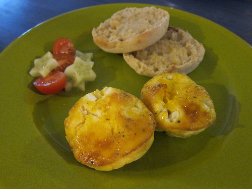 Ham & Goat Cheese Frittatas; English Muffin; Tomato & Cucumber Salad