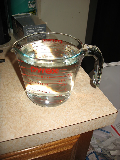 I know you don't need a picture of my water-filled measuring cup but I took it so here you get it.