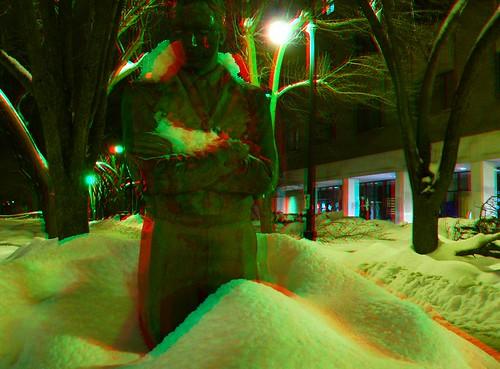 Davis Square statue in 3D anaglph