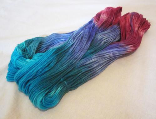Dk yarn - Kingfisher, Tarragon, Sun Orchid, Clematis, Grevillia
