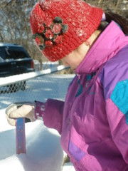 Sophia Measuring Snow Depth