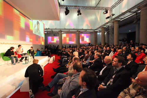 Foursquare and GroupOn founders on stage at DLD