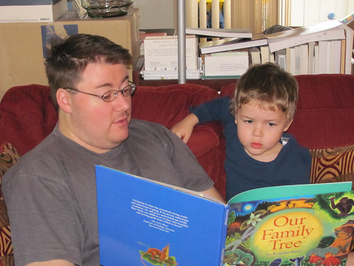 """Reading a book for Darwin Day (""""Our Family Tree"""")"""