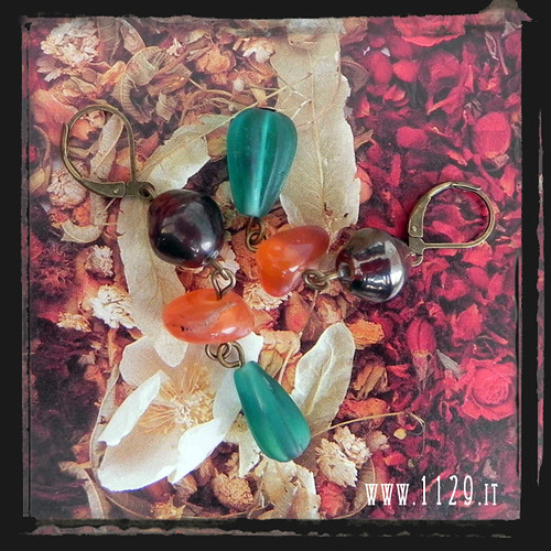 MCSARA orecchini multicolore viola arancio verdi purple green orange bronze earrings