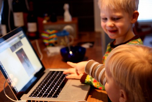 Boys surfing the net